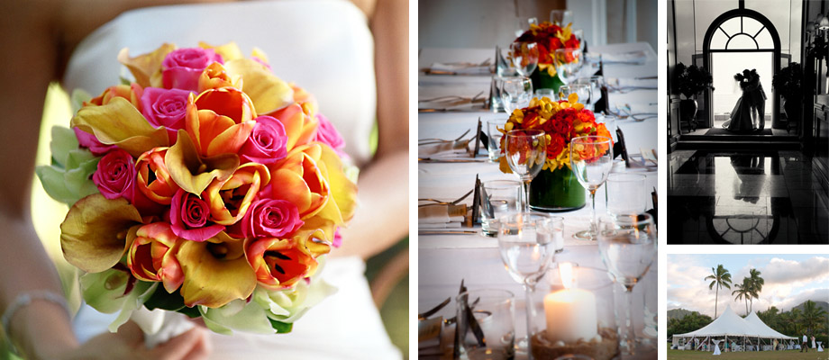 bouquet, table settings, couple kissing, reception tent